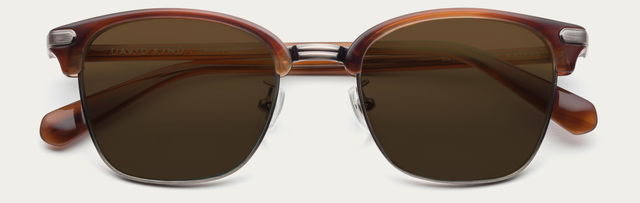 Tiny 2x katana in teak brown lens